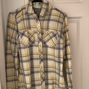 gray, yellow, and white plaid button up